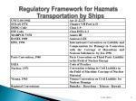 regulatory framework for hazmats transportation by ships
