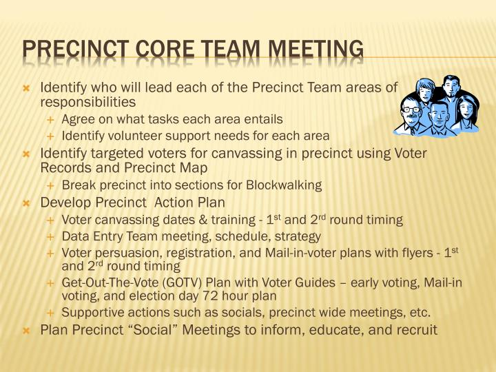 Identify who will lead each of the Precinct Team areas of responsibilities