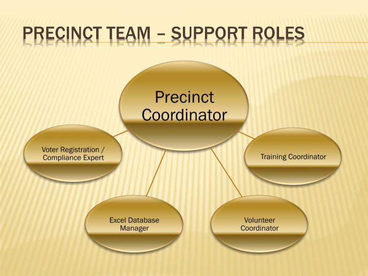 Precinct Team – support roles