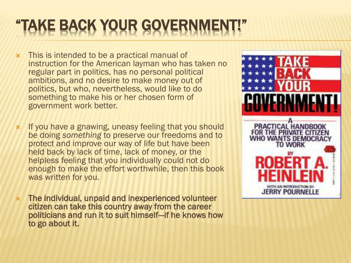 This is intended to be a practical manual of instruction for the American layman who has taken no regular part in politics, has no personal political ambitions, and no desire to make money out of politics, but who, nevertheless, would like to do something to make his or her chosen form of government work better.