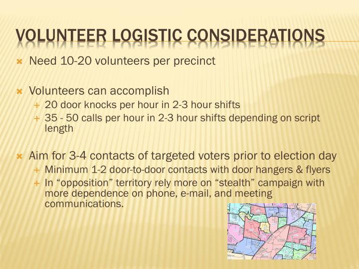 Need 10-20 volunteers per precinct