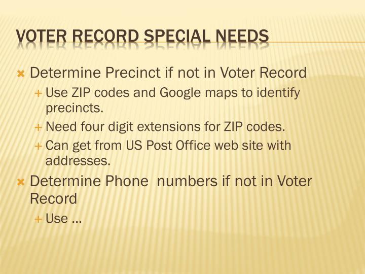 Determine Precinct if not in Voter Record