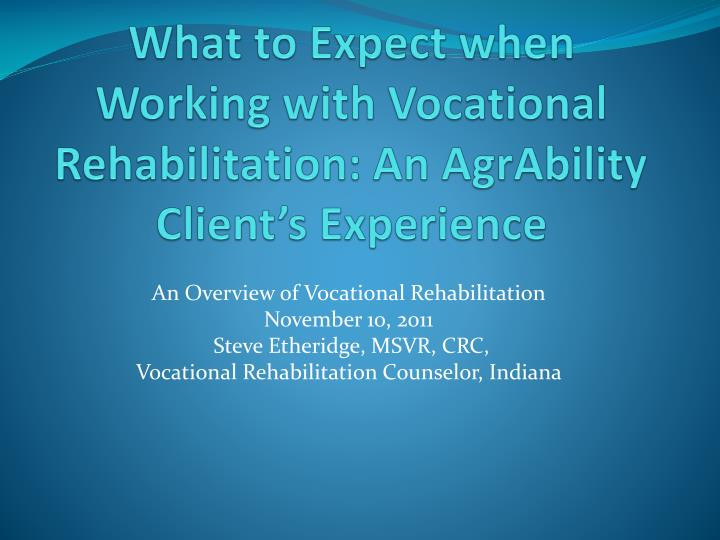 what to expect when working with vocational rehabilitation an agrability client s experience n.