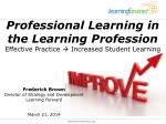 professional learning in the learning profession effective practice increased student learning