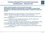 contract number procurement instrument identification general info