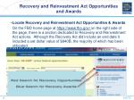 recovery and reinvestment act opportunities and awards