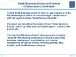 small business events and vendor collaboration continued