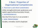 3 basic properties of organizational competencies