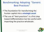 benchmarking adopting generic best practices