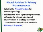 pivotal positions in primary pharmaceuticals