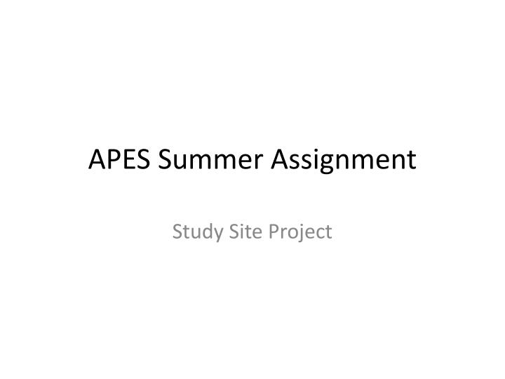 apes summer assignment n.