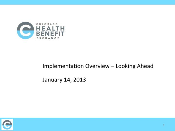 implementation overview looking ahead january 14 2013 n.