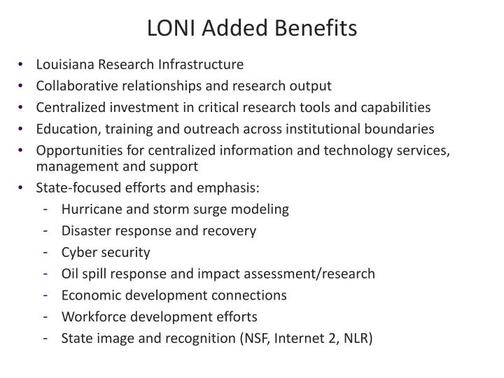 LONI Added Benefits