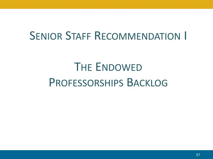 Senior Staff Recommendation I