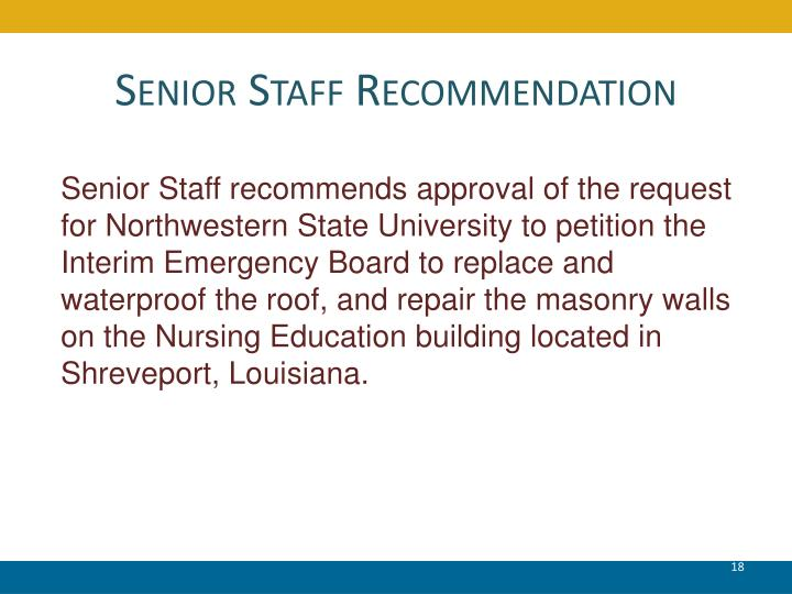 Senior Staff Recommendation