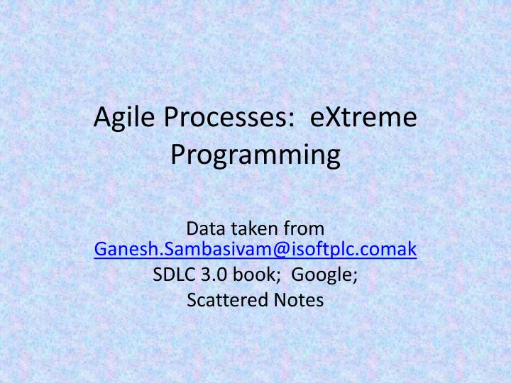 agile processes extreme programming n.