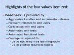 highlights of the four values itemized2