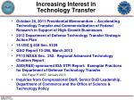increasing interest in technology transfer