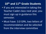 10 th and 11 th grade students