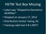 hstw test box missing