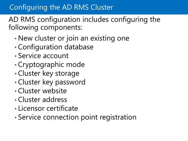 Configuring the ADRMS Cluster