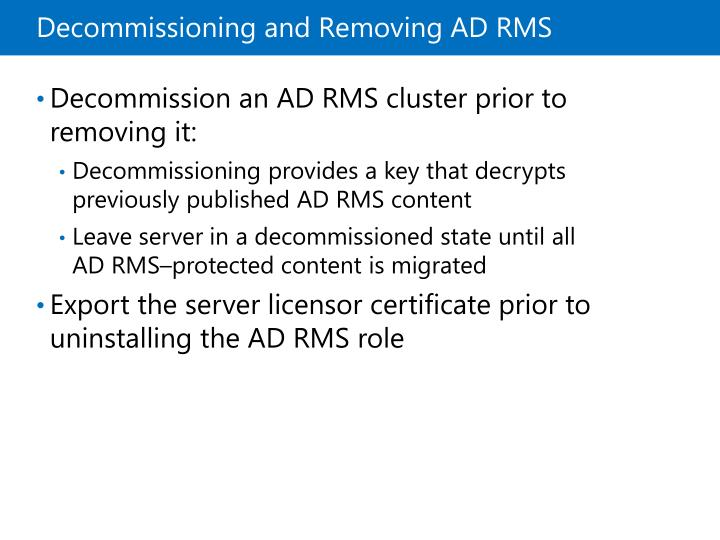 Decommissioning and Removing ADRMS