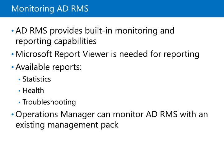 Monitoring ADRMS