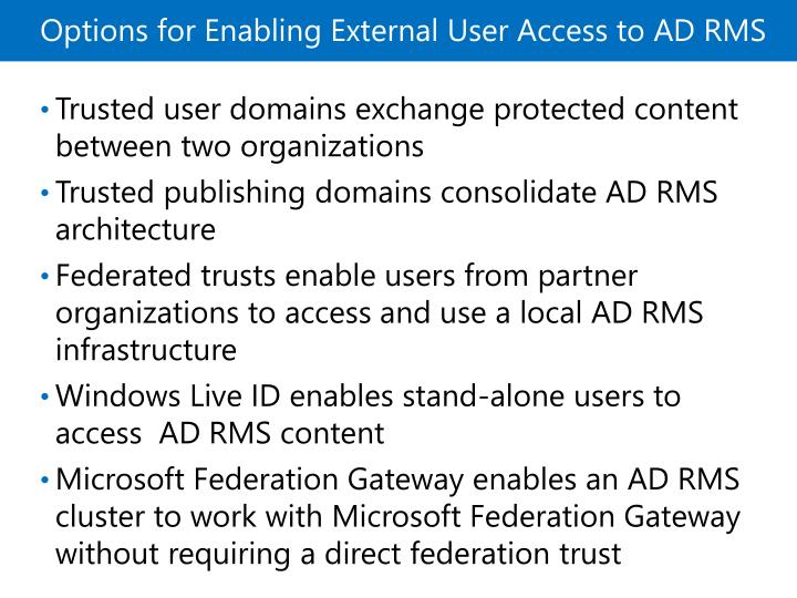 Options for Enabling External User Access to ADRMS