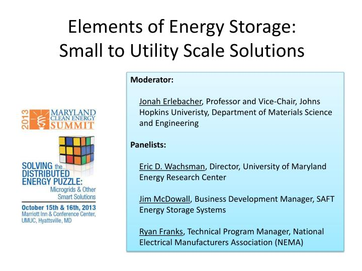 elements of energy storage small to utility scale solutions n.