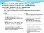 review of pars and technical a pproach standard for application of technical reviews audits