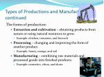 types of productions and manufacturing continued