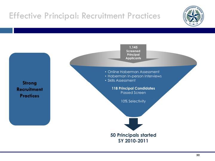 Effective Principal: Recruitment Practices