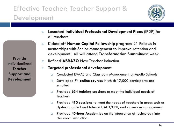 Effective Teacher: Teacher Support & Development