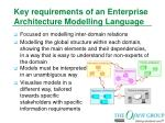 key requirements of an enterprise architecture modelling language