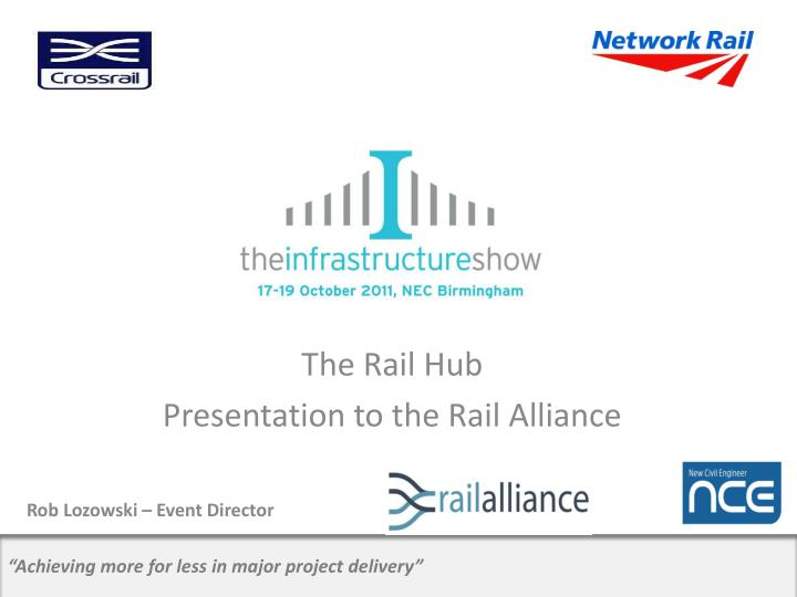 the rail hub presentation to the rail alliance rob lozowski event director n.