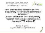 question from benjamin matthewson viclink