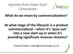 question from owen scott concentrate