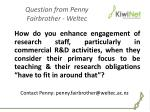 question from penny fairbrother weltec