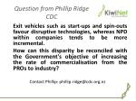 question from phillip ridge cdc