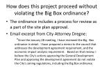how does this project proceed without violating the big box ordinance