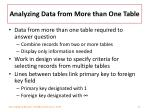 analyzing data from more than one table
