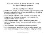 lesotho chamber of commerce and industry statistical requirements1
