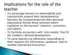 implications for the role of the teacher2