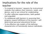 implications for the role of the teacher3