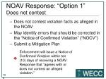 noav response option 1 does not contest