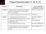 project discontinuities t m r o