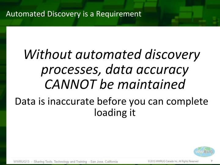 Automated Discovery is a Requirement