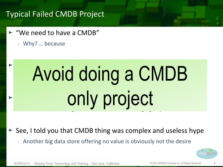 Typical failed cmdb project