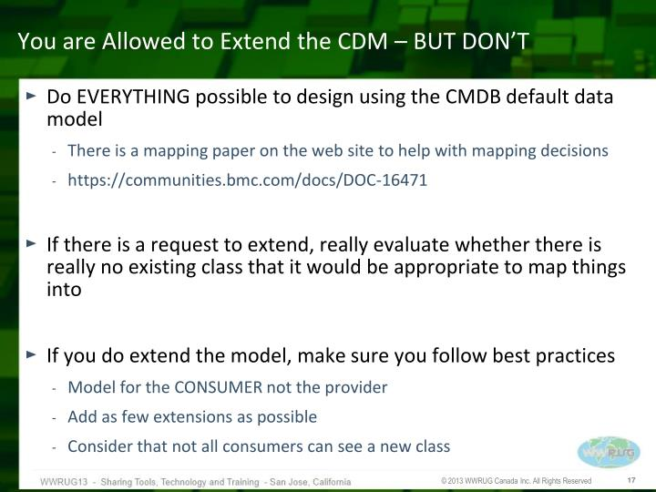 You are Allowed to Extend the CDM – BUT DON'T