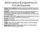 active measure programmes i first job guarantee